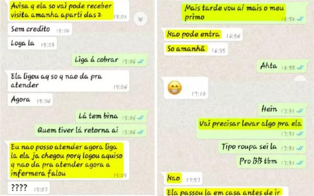 Prints mostram conversa de suspeita de sequestro (fundo branco) e esposo (fundo verde), durante o dia do crime (Foto: WhatsApp/Reprodução)