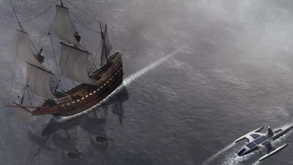 O Mayflower original era maior e mais impressionante, mas mais lento e dependente de humanos para guiá-lo. — Foto: IBM