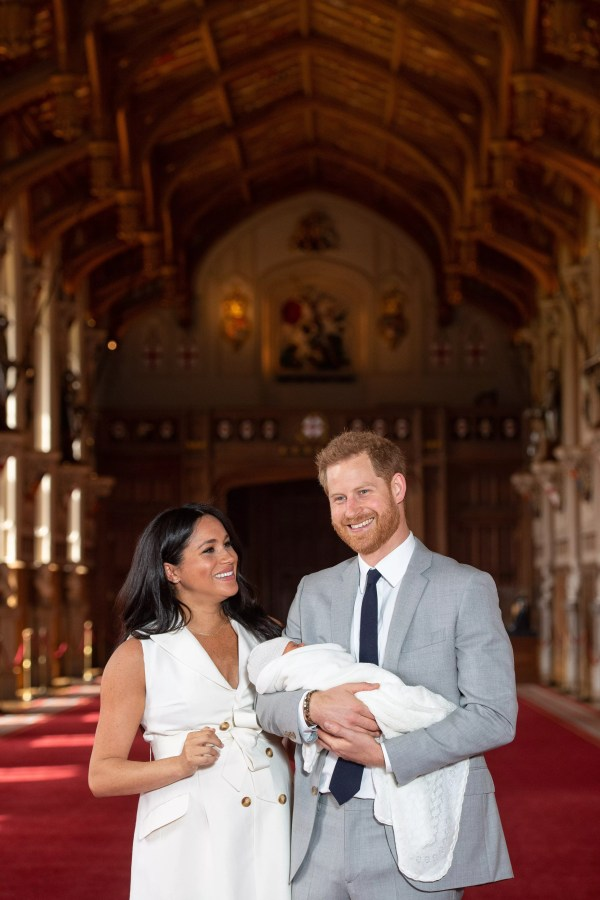 Prince Harry and actress Meghan Markle at their son Archie's presentation to the world at Windsor Palace in May 2019 (Photo: Getty Images)