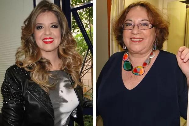 Regina Navarro Lins e Mariana Santos nos bastidores do Amor e Sexo (Foto: Amor e Sexo / TV Globo)