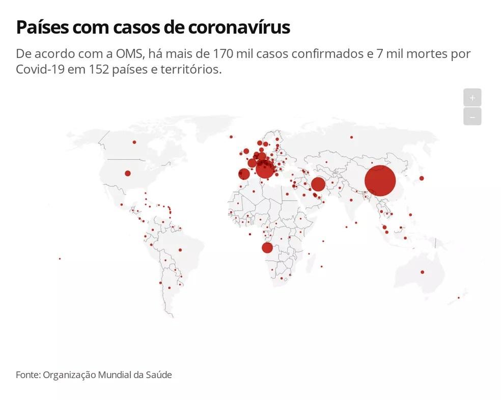 Mapa de países com casos de coronavírus — Foto: G 1