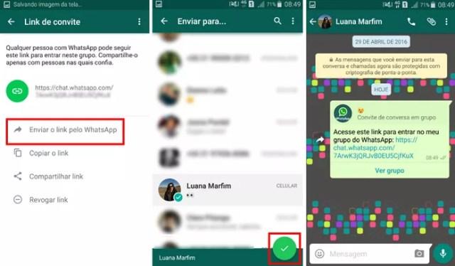 Envie o link do grupo usando o WhatsApp (Foto: Reprodução/ Aline Batista)
