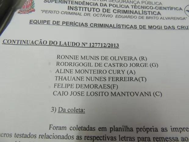 Laudo da perícia lista os nomes dos médicos donos das digitais dos dedos de silicone (Foto: Pedro Carlos Leite)