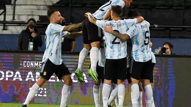 Comemoração gol Argentina x Chile Copa América