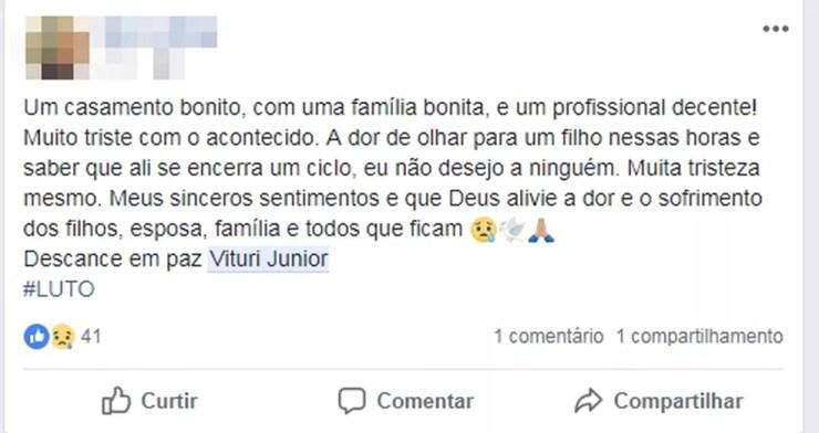 Amigo lamenta a morte de policial em acidente em Pindorama (Foto: Reprodução/Facebook)