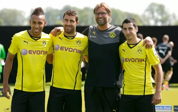 Aubameyang, Sokratis, Klopp e Mkhitaryan Borussia Dortmund (Foto: Reuters)