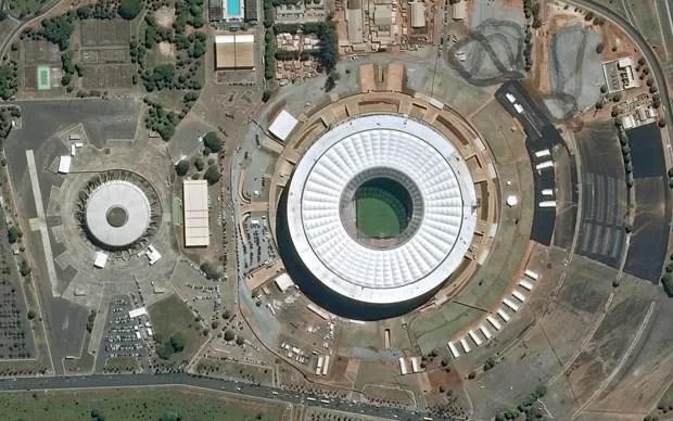 Estádio Nacional, em Brasília, em foto de satélite divulgada em 28 de maio de 2014 (Foto: CNES 2014 Distribution Astrium Services/Spot Image S.A/AFP)