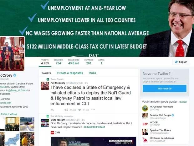 O governador da Carolina do Norte, Pat McCrory, declara estado de emergência (Foto: Reprodução / Twitter / Pat McCrory)