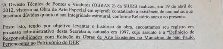 Documento de 2012 da SIURB para o DER — Foto: Arquivo pessoal