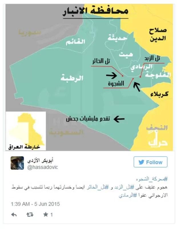 Usuário do Twitter chegou a postar mapa do campo de falsa batalha (Foto: Reprodução/ Twitter/ hassadovic)