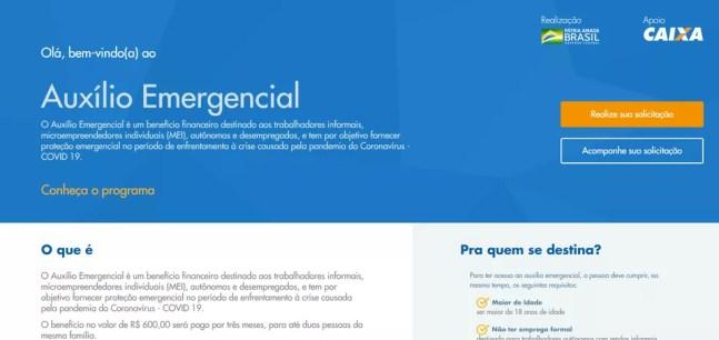 Página inicial no site da Caixa para cadastro no auxílio emergencial de R$ 600  — Foto: Reprodução