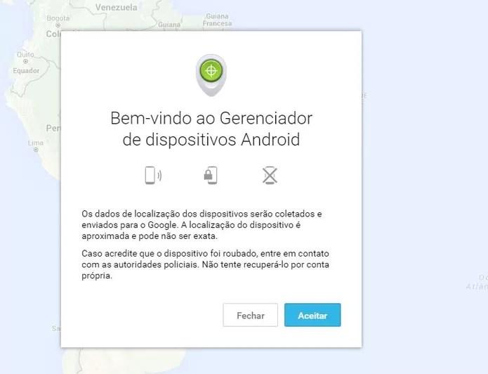 """Clique em """"Aceitar"""" para começar a localizar o Android (Foto: Reprodução/Caio Bersot)"""