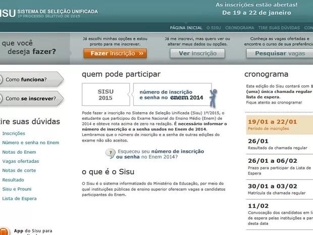 Reprodução do site do Sisu (Foto: Reprodução)