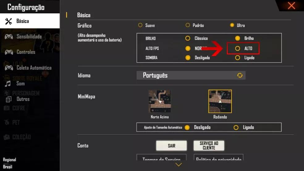 """Na seção """"Alto FPS"""" no Free Fire, selecione a opção """"Alto""""  — Foto: Reprodução/Leandro Eduardo"""