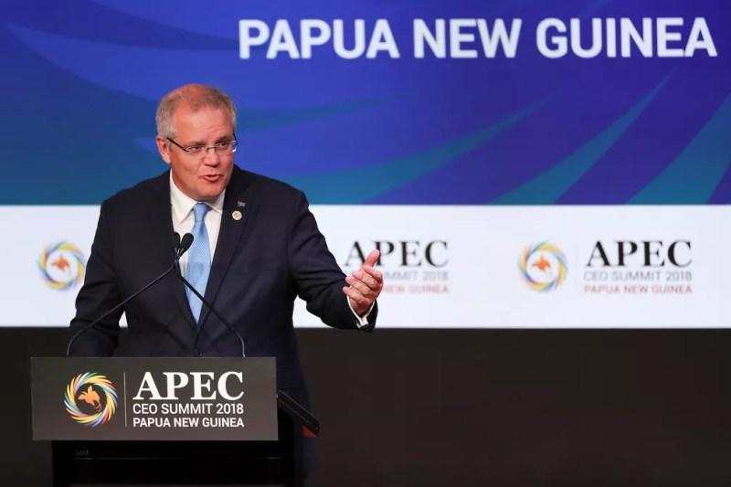 Scott Morrison fala na cúpula da Cooperação Econômica Ásia-Pacífico (APEC) em Port Moresby, em Papua-Nova Guiné — Foto: Fazry Ismail/Pool via Reuters