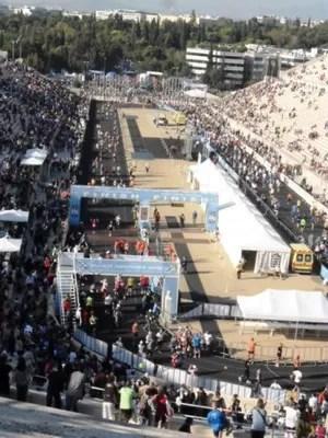 A visão do estádio de mármore Panathinaikos, local da chegada da Maratona (Foto: Arquivo)