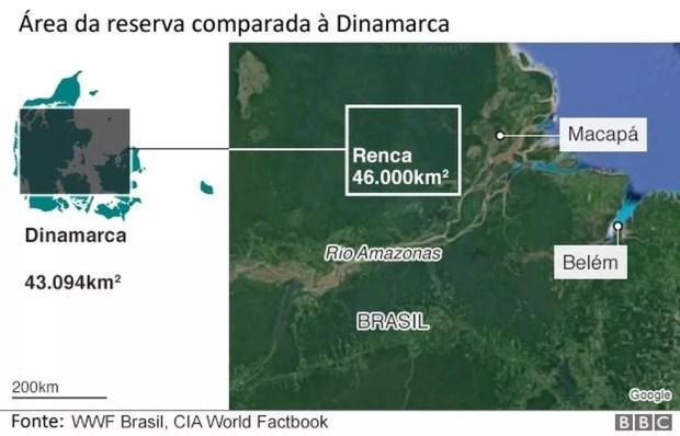 Área da reserva comparada à Dinamarca (Foto: BBC)