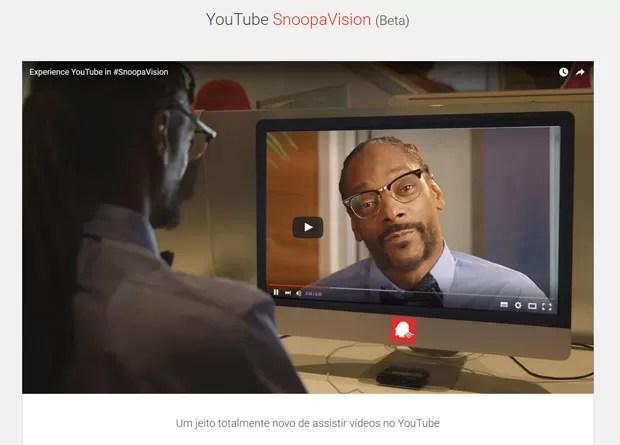 YouTube SnoopaVision, plataforma de vídeo em 360 graus com o rapper Snoop Dogg, é uma das brincadeiras do Google de 1º de abril. (Foto: Reprodução/YouTube)