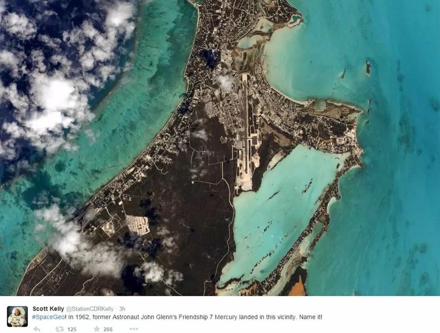 Primeiro tweet de Scott com charada sobre qual o local da Terra (Foto: Reprodução/Twitter/@StationCDRKelly)