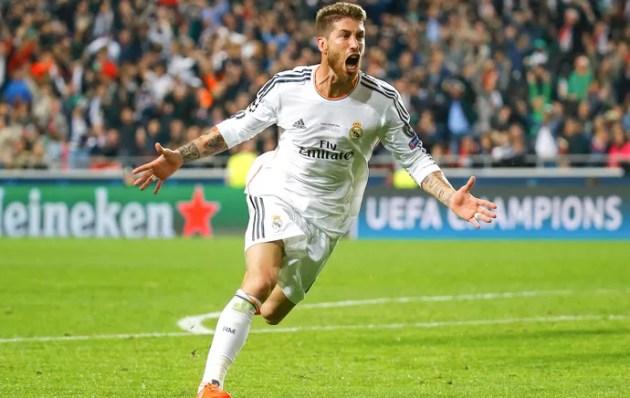 Sergio Ramos comemroa gol do Real Madrid contra o Atlético de Madrid (Foto: Agência Reuters)