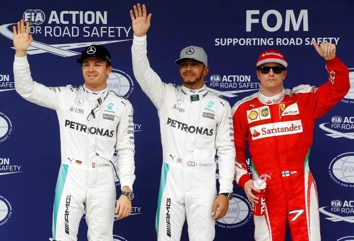 Hamilton, Rosberg e Raikkonen grid gp do brasil de f1 (Foto: Reuters)