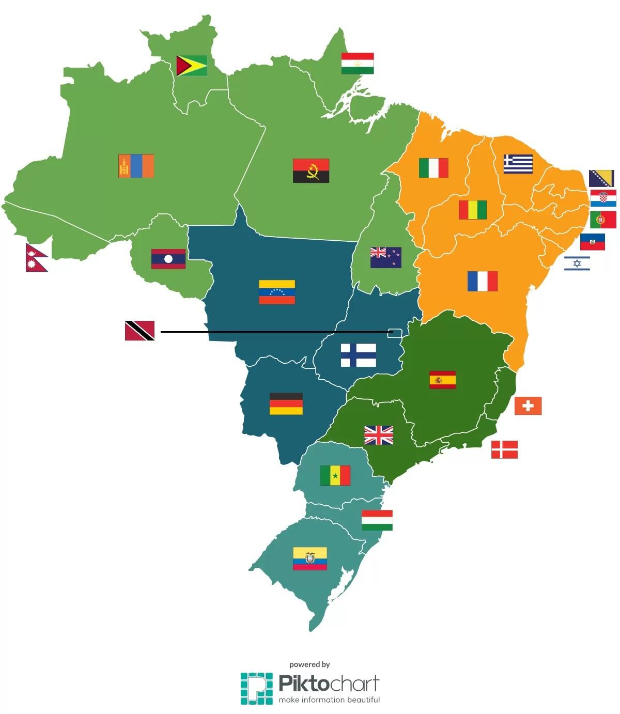 Mapa Brasil países (Foto: Galileu/Pik to chart)