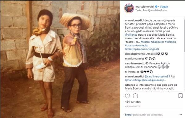 Marcelo Médici mostra que o sonho de ser ator vem desde a infância (Foto: Reprodução da Internet)