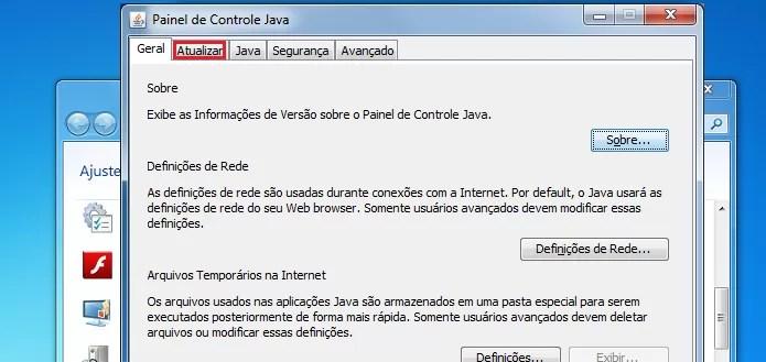 Acessando a aba Atualizar no painel do Java (Foto: Reprodução/Edivaldo Brito)