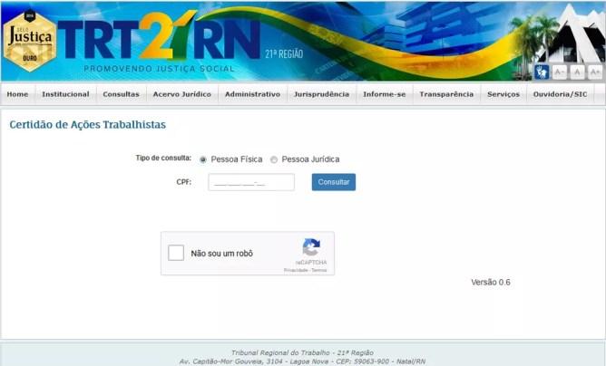 Serviços de emissão gratuita de certidão trabalhista já está disponível no site do TRT/RN (Foto: Reprodução)
