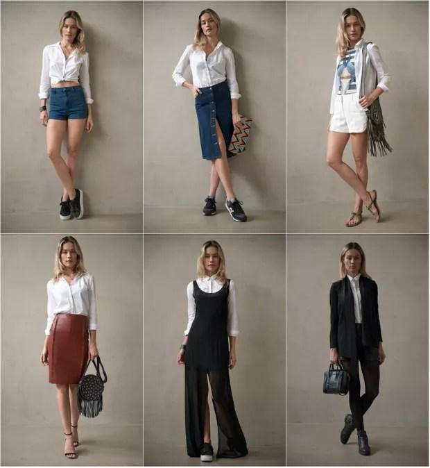 A modelo Patricia Beck ensina como combinar a mesma blusa branca social em diferentes looks (Foto: Getty)