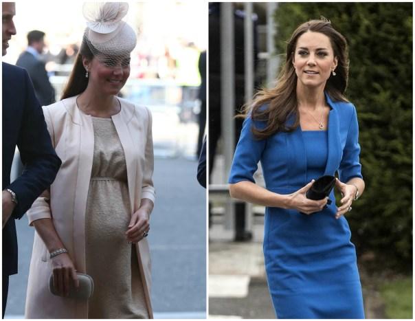 Kate Middleton em junho de 2013 (à esq.) e em fevereiro de 2014. A princesa britânica se tornou mãe em 22 de julho de 2013, quando nasceu George Alexander Louis. (Foto: Getty Images)