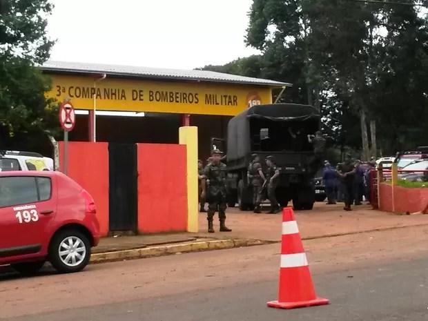 Dia 21: soldados do Exército chegaram a Xanxerê na tarde desta terça-feira (Foto: SDR/Divulgação)