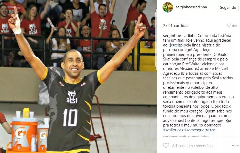 Serginho anuncia saída do Sesi-SP (Foto: Reprodução/Instagram)