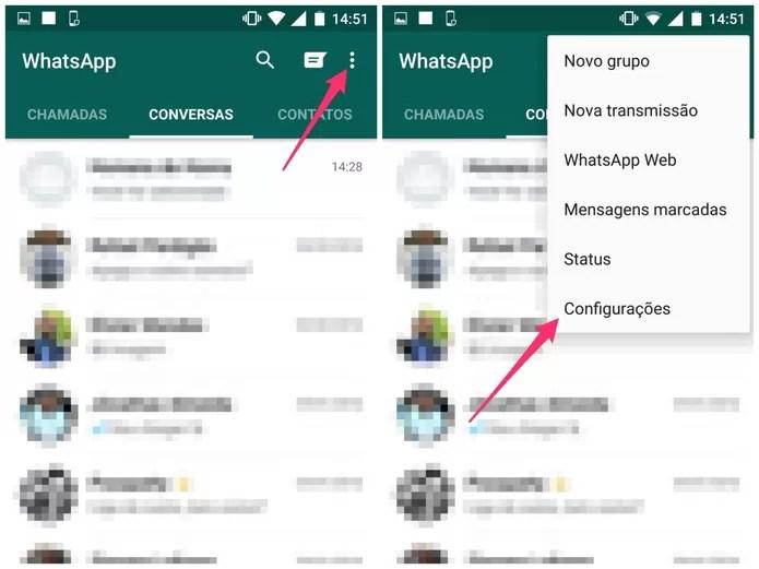 Acesse as Configurações do WhatsApp (Foto: Reprodução/Lucas Mendes)