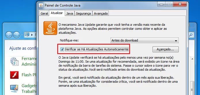 Desativando a verificação de atualizações do Java (Foto: Reprodução/Edivaldo Brito)