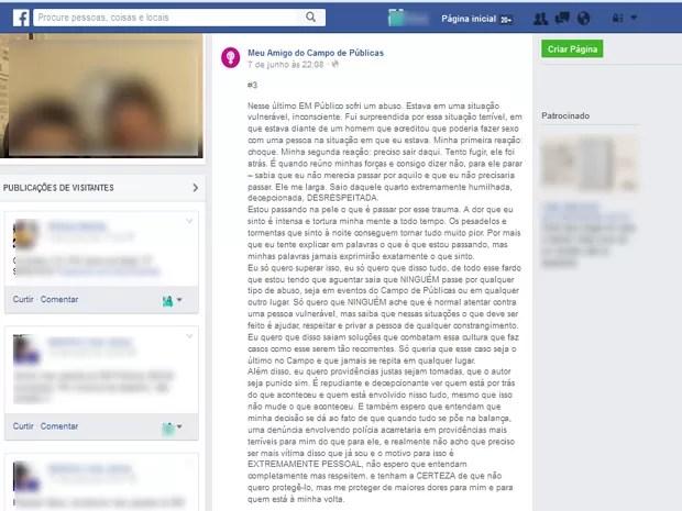 Jovem desabafou sobre estupro coletivo nas redes sociais  (Foto: Reprodução /Facebook)