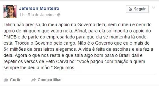 O publicitário, conhecido pela personagem Dilma Bolada, anunciou pelo Facebook seu rompimento com a presidente (Foto: Reprodução/Facebook)