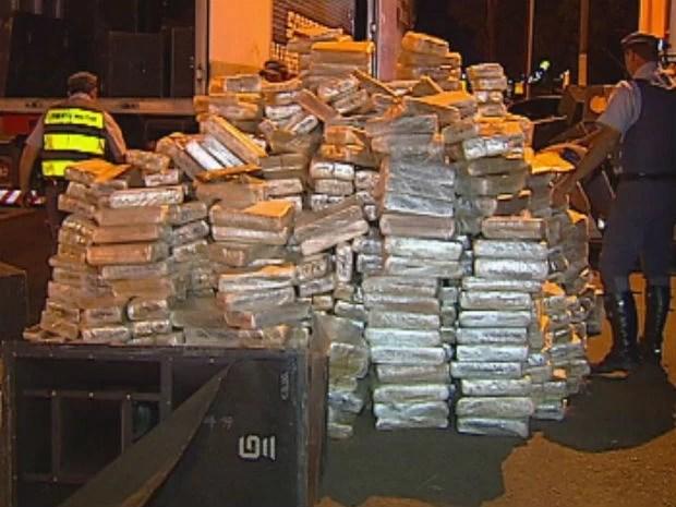 Segundo a polícia, é a maior apreensão de drogas da região (Foto: Reprodução/TV Tem)