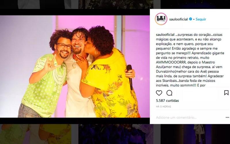 Saulo publicou foto com casal nas redes sociais (Foto: Reprodução / Instagram)