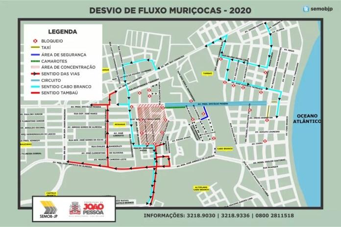 Esquema de trânsito para o bloco das Muriçocas 2020, em João Pessoa — Foto: Semob/Divulgação