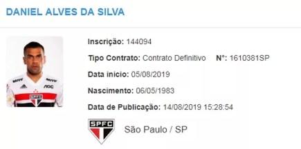 Daniel Alves é registrado no BID — Foto: Reprodução