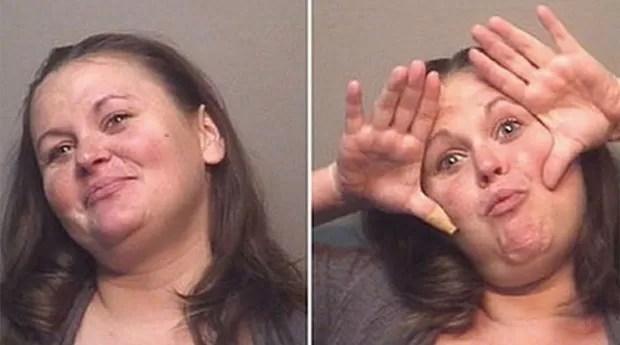 Sandra Grohman foi fotografada fazendo caretas após ser presa bêbada no Texas (EUA) (Foto: Divulgação/Humble Police Department)
