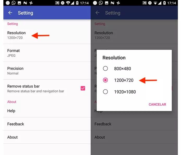 Ação para alterar a resolução dos prints gerados pelo app LongScreenshot