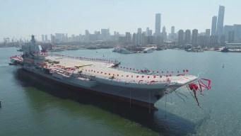 China apresenta seu novo porta-aviões nesta quarta-feira (26), o primeiro feito totalmente no país (Foto: Li Gang/Xinhua via AP)