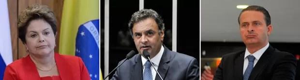 Os candidatos: Dilma Rousseff (PT), Aécio Neves (PSDB) e Eduardo Campos (PSB) (Foto: ABr/Agência Senado/ABr)