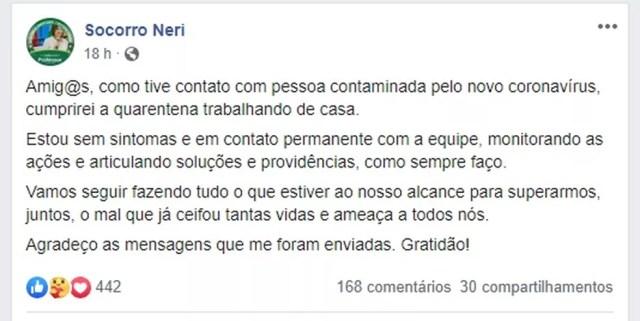 Anúncio foi feito nessa segunda-feira (18) pela própria prefeita em uma postagem no Fabebook.  — Foto: Reprodução/Facebook