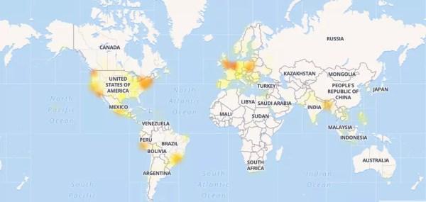 Mapa mostra volume de reclamações relacionadas ao Facebook por volta das 13h30 desta sexta-feira (3) (Foto: Reprodução/Down Detector)