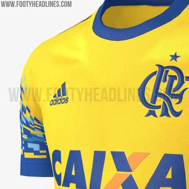 f3de4880bdd71 Novo terceiro uniforme do Flamengo é amarelo com detalhes em azul (Foto   Reprodução)