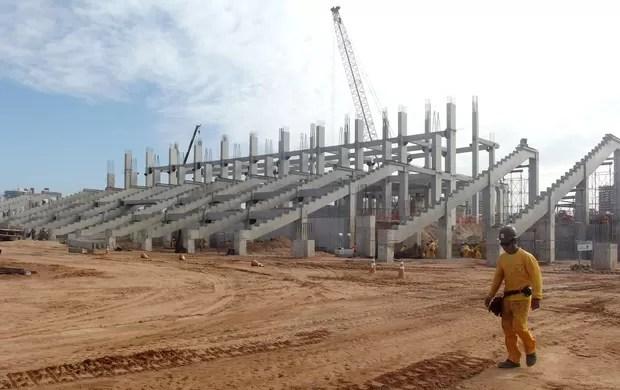 Setor oeste da Arena das Dunas (Foto: Matheus Magalhães/Globoesporte.com)