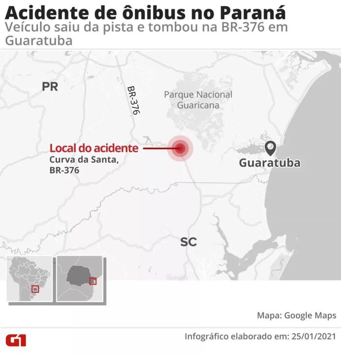 Acidente aconteceu na Curva da Santa, no Paraná, na pista que leva ao litoral catarinense — Foto: Arte/G1